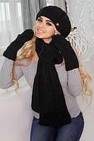 Зимний женский комплект «Милана» (берет, шарф и варежки) черный