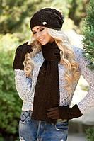 Зимний женский комплект «Афродита» (шапка, шарф и перчатки)  Коричневый