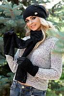 Зимний женский комплект «Афродита» (шапка, шарф и перчатки) Черный