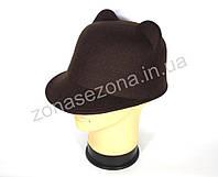 Женская шляпа фетровая жокейка с ушками коричневая