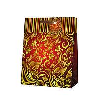 Пакет подарочный орнамент красный