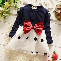 Красивое платье с бантом, для девочки, рост 70, 80, 90, 100 см