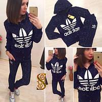 Спортивный женский теплый костюм Adidas олимпийка с капюшоном. Большие размеры (оптом) Синий, 54