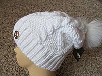 Теплая вязаная шапка с бубоном 107, фото 1