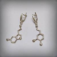 2047 Серьги Формула любви серебро 925 пробы Дофамин и Серотонин