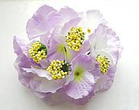 Декоративная Гортензия из ткани Сиренево-белая 17 см 1 шт