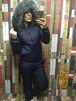 Спортивный женский теплый костюм большого размера со стеганой плащевкой на синтепоне 150 (оптом) Темно-синий, 50
