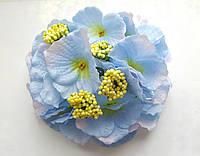 Декоративная Гортензия из ткани Голубая 17 см 1 шт
