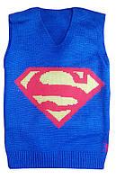 """Детская жилетка """"Супермен"""" на мальчика до 6 лет, голубая"""