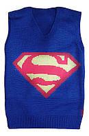 """Детская жилетка """"Супермен"""" на мальчика до 6 лет, синяя"""