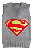 """Детская жилетка """"Супермен"""" на мальчика до 6 лет, серая"""