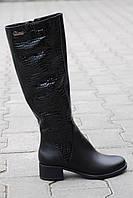 Женские кожаные сапоги на низком ходу зима