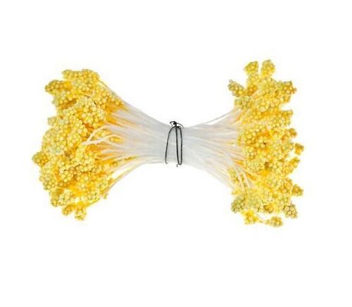 Тычинки пенопластовые Желтые 5 мм на нитке 25 шт/ пучок