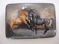 Картина на деревянной дощечке, символ года, лошади