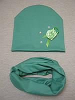 Детская трикотажная шапка+ снуд хомут, фото 1