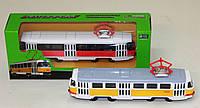 Трамвай металл 6411ABCD 96шт4 АВТОПРОМ , в кор. 19,558см