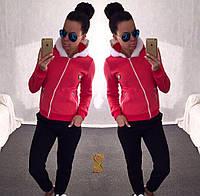 Костюм спортивный женский большого размера двойка трехнитка с начесом (оптом) Красный, 54