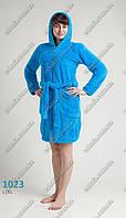 Женский махровый халат на молнии средней длины 46-50 размеры голубой
