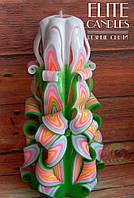 Резная свеча ручной работы, высота 19 см, нежной раскраски