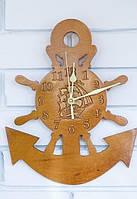 Деревянные часы Якорь, ручной работы