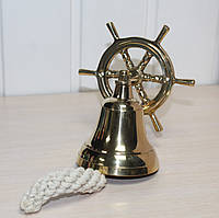 Сувенирная рында (корабельный колокол) из латуни Штурвал 7,5 см