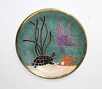 Настенная декоративная тарелка из латуни Морская
