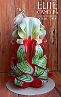 Резная свеча ручной работы, на 8 марта, новый год, день рожденье женщинам