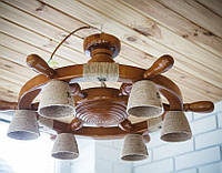 Большая деревянная люстра Штурвал на 6 лампочек. Ручная работа