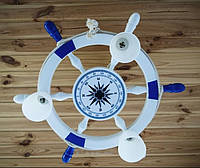 Деревянная люстра Белый штурвал с компасом. Ручная работа
