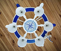 Деревянная люстра Белый штурвал с компасом на 6 лампочек. Ручная работа