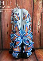 Резная свеча ручной работы, высота 19 см, украшена бусинками