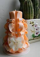 Резная свеча ручной работы, на 8 марта, новый год, годовщину, день рожденье, 14 см высотой