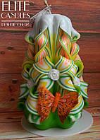 Резная свеча ручной работы, 14 см высотой, с бабочкой и бусинками в форме розочек