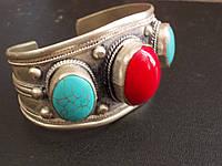 Широкий браслет.Красный коралл, голубая бирюза-Тибет-ИНДИЯ-Эксклюзив
