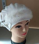 Бежевая шапка - берет с норкой  , фото 6