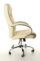 Офисное компютерное кресло MERACLES бежевое кожаное, фото 3