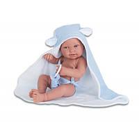 Кукла младенец PIPO 42 см в банном полотенце с игрушкой Antonio Juan 5093