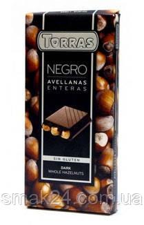 Шоколад Torras черный с цельным фундуком Испания 200г