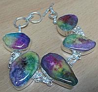 """Элегантный браслет """"Самоцвет"""" с натуральным цветным агатом, фото 1"""