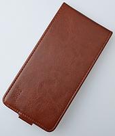 Кожаный чехол флип для Lenovo A2010 коричневый