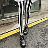 Контрастные черно-белые леггинсы в полоску, фото 3