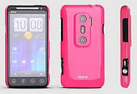 ROCK Colorful back cover for HTC EVO 3D X515m, rose red
