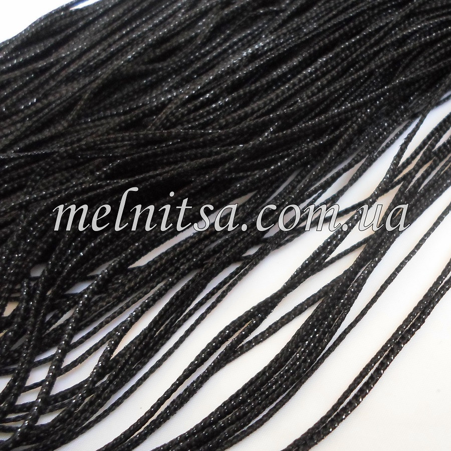 Шнур с люрексом, 1,5мм, цвет черный, цвет люрекса - черный, 1 м