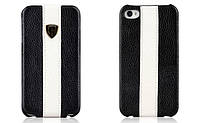 Nuoku genuine leather case with stripe for iPhone 4/4S, black
