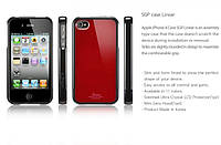 SGP Linear Case for iPhone 4G dark red/white