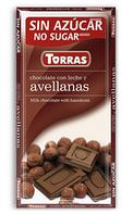 Шоколад без сахара Torras молочный с фундуком Испания 75г