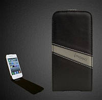 IMOBO leather case for iPhone 4/4S, black/grey (FCIP-15BG)