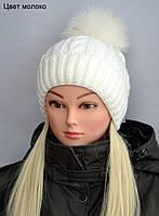 Зимняя шапка с натуральный бубоном женская, фото 1