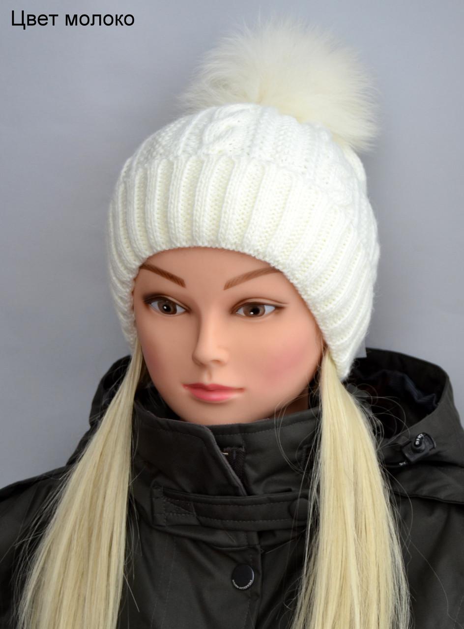 Зимняя шапка с натуральный бубоном женская