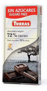 Шоколад без сахара Torras negro (черный) 72% какао Испания 75г